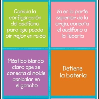 Spanish Hearing Aid TicTacToe Bingo