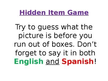 Spanish Hidden Classroom Items Vocabulary Game