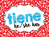 Spanish High-Frequency Verbs Printable Posters, Word Wall