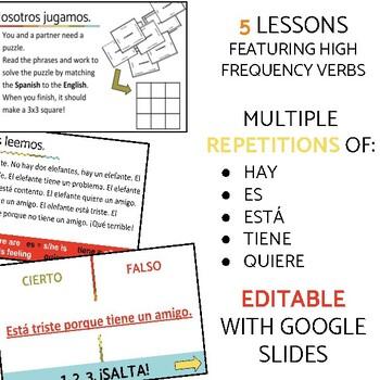 Spanish High Frequency Verbs Story Unit Bundle EL ELEFANTE