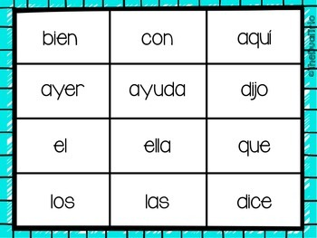 Spanish High Frequency Word BINGO