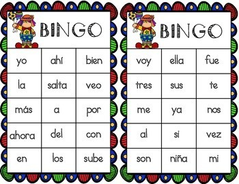 Spanish High Frequency Words Bingo Game