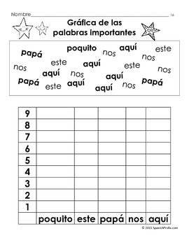 Spanish High Frequency Words Find and Graph (Palabras de uso frecuente)