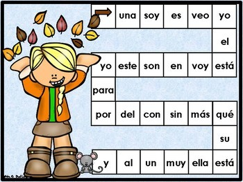 Otoño: Spanish High Frequency Words Game  Boards and 4-in-a row Games