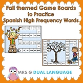 Fall Themed Spanish High Frequency Words Game Boards and 4-in-a row Games