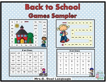 Spanish High Frequency Words Game  Boards and 4-in-a row Games Sampler