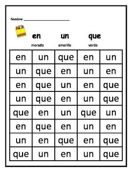 Spanish High Frequency Words - Kindergarten No Prep!