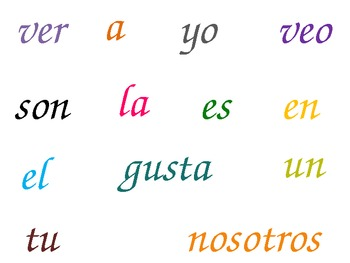 Spanish High Frequency Words- Palabras de Alta Frecuencia para Kinder