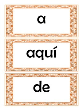 Spanish High Frequency Words / Palabras de uso frecuente