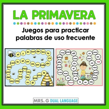 Primavera:  Spring Game Boards for Spanish high frequency words