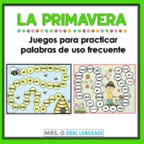 Spanish high frequency words Spring Game boards