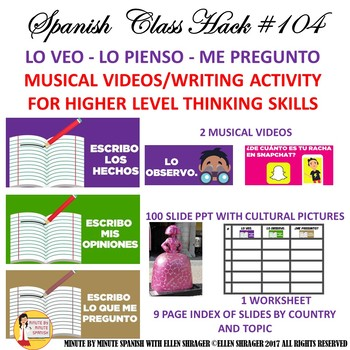 104 Spanish Higher Level Thinking and Writing with Cultural Pictures and Videos