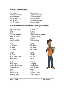 Spanish Hobbies Handout - Para Hablar de los Pasatiempos: Partner Activity