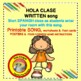 Spanish Hola Clase begin class printed song, POSTERS, flash cards, worksheets