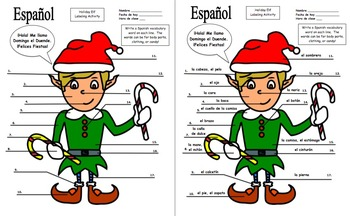 Spanish Holiday Elf Labeling Activity With Clothing and Body Parts Words