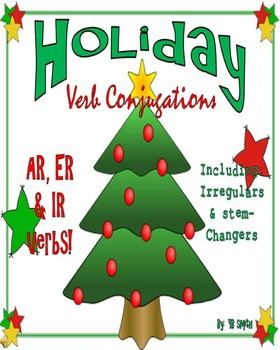 Spanish Holiday Verb Review Powerpoint BUNDLE