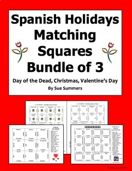 Spanish Holidays 3 Matching Squares Bundle - Christmas, Day of Dead, Valentine's