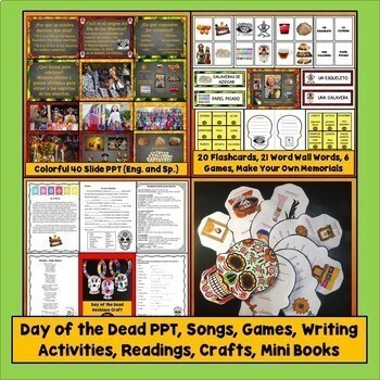 Spanish Holidays Lesson Plan Bundle, Day of the Dead, Cinco de Mayo, Valentine's