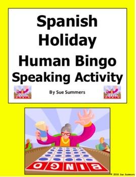 Spanish Holidays Human Bingo Game Speaking Activity - Días Festivos