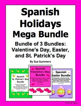 Spanish Holidays Mega Bundle of 3: Valentine's, St. Patric