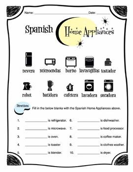 Spanish Home Appliance Words Worksheet Packet
