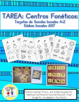 Spanish Homework:  007:  TAREA Tarjetas de Sonidos Iniciales A-Z