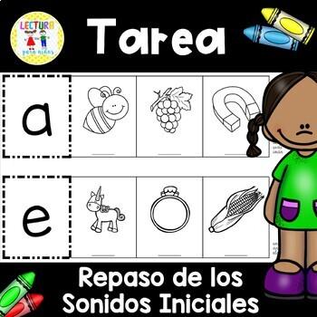 Spanish Homework:  010: TAREA Repaso de los Sonidos iniciales Beg. Sounds Review