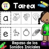 Spanish Homework:  TAREA Repaso de los Sonidos iniciales B