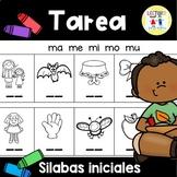 Spanish Homework - TAREA Sílabas Iniciales - Beginning Syllables
