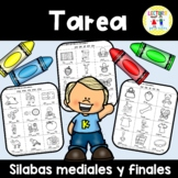 Spanish Homework 012: TAREA Silabas mediales y finales: Middle & Ending Syll.