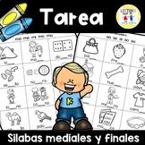 Spanish Homework:  TAREA Silabas mediales y finales: Middl