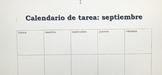 Spanish Homework Calendar