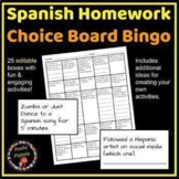 Spanish Homework Choice Board Bingo *Editable*