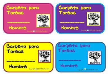 Spanish Homework Folder labels