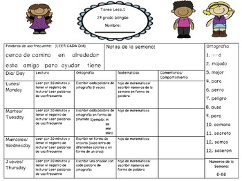 Spanish Homework Templates for Lesson 1-30 of Senderos