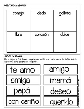 Spanish Homework for Kindergarten/1st Grade: February Spanish Language Arts/Math