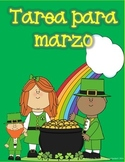 Spanish Homework for Kindergarten/1st Grade: March Spanish Language Arts/Math
