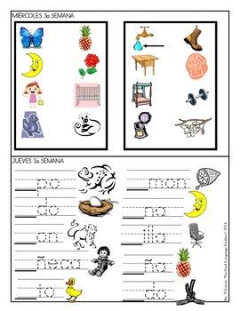 Spanish Homework for Kindergarten/1st Grade: November Spanish Language Arts/Math