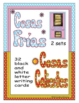 Spanish Hot Cold Vocabulary Tracing Cards Black and White