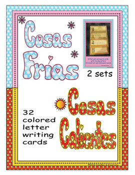 Spanish Hot Cold Vocabulary Tracing Cards Colored
