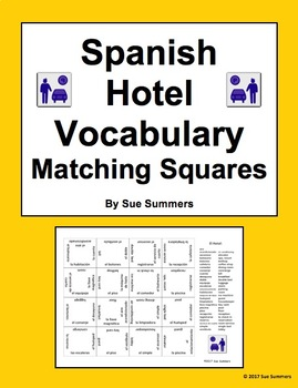 Spanish Hotel Vocabulary Matching Squares Puzzle - Spanish Travel