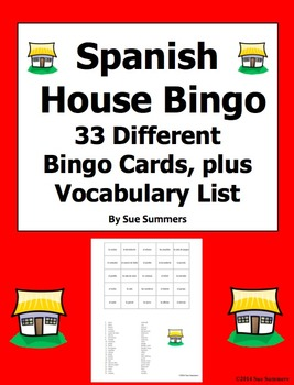 Spanish House Bingo - 33 Game Cards Plus Vocabulary Lists