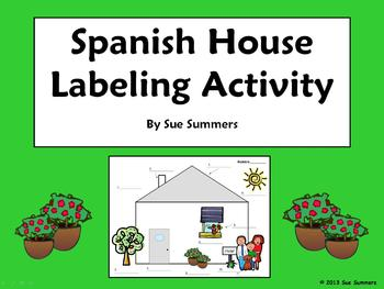 Spanish House Exterior Diagram and Labeling Activity - La Casa