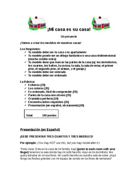 Spanish House & Home Vocabulary Project