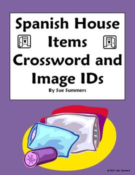 Spanish House Items Crossword and Image IDs Worksheet