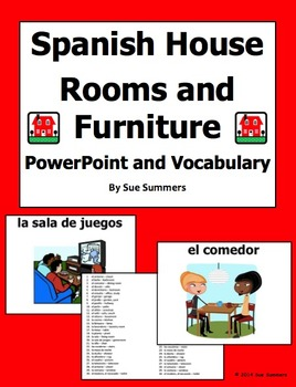 Spanish House PowerPoint and Vocabulary - 30 Slides or Signs