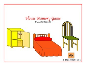 Spanish House Rooms & furniture Vocabulary Memory Game