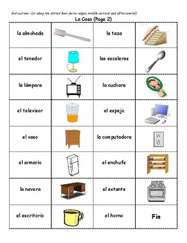 Spanish House Vocab Dominoes