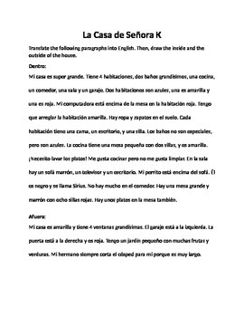 Spanish House Vocab Translating