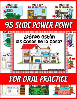 Spanish House Vocabulary Oral Practice and Labels Powerpoint BUNDLE